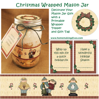 Decorate a Mason Jar with a Printable wrapper and Jar Topper